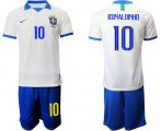 Cheap Brazil #10 Ronaldinho White Soccer Country Jersey