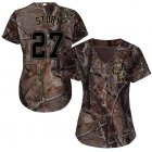 Cheap Rockies #27 Trevor Story Camo Realtree Collection Cool Base Women's Stitched MLB Jersey