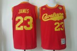 Cheap Men's Cleveland Cavaliers #23 LeBron James 2015 The Finals 2009 Red Hardwood Classics Soul Swingman Throwback Jersey