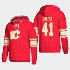 Cheap Calgary Flames #41 Mike Smith Red adidas Lace-Up Pullover Hoodie