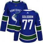 Cheap Adidas Canucks #77 Nikolay Goldobin Blue Home Authentic Women's Stitched NHL Jersey