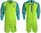Cheap USA #1 Howard Shiny Green Goalkeeper Long Sleeves Soccer Country Jersey