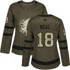 Cheap Adidas Flames #18 James Neal Green Salute to Service Women's Stitched NHL Jersey
