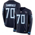 Cheap Nike Titans #70 Ty Sambrailo Navy Blue Team Color Youth Stitched NFL Limited Therma Long Sleeve Jersey