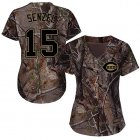 Cheap Reds #15 Nick Senzel Camo Realtree Collection Cool Base Women's Stitched MLB Jersey