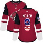 Cheap Adidas Coyotes #9 Clayton Keller Maroon Home Authentic USA Flag Women's Stitched NHL Jersey