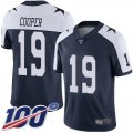 Cheap Nike Cowboys #19 Amari Cooper Navy Blue Thanksgiving Youth Stitched NFL 100th Season Vapor Throwback Limited Jersey