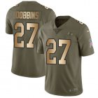 Cheap Nike Ravens #27 J.K. Dobbins Olive/Gold Youth Stitched NFL Limited 2017 Salute To Service Jersey
