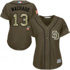 Cheap Padres #13 Manny Machado Green Salute to Service Women's Stitched MLB Jersey