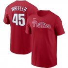 Cheap Philadelphia Phillies #45 Zack Wheeler Nike Name & Number T-Shirt Red