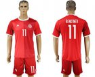 Cheap Danmark #11 Bendtner Red Home Soccer Country Jersey