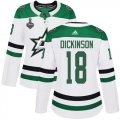 Cheap Adidas Stars #18 Jason Dickinson White Road Authentic Women's 2020 Stanley Cup Final Stitched NHL Jersey