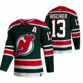 Cheap New Jersey Devils #13 Nico Hischier Green Men's Adidas 2020-21 Reverse Retro Alternate NHL Jersey