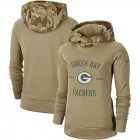 Cheap Women's Green Bay Packers Nike Khaki 2019 Salute to Service Therma Pullover Hoodie