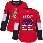 Cheap Adidas Senators #22 Nikita Zaitsev Red Home Authentic USA Flag Women's Stitched NHL Jersey