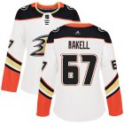 Cheap Adidas Ducks #67 Rickard Rakell White Road Authentic Women's Stitched NHL Jersey