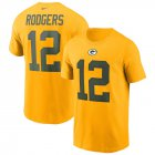 Cheap Green Bay Packers #12 Aaron Rodgers Nike Team Player Name & Number T-Shirt Gold