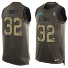 Cheap Nike Lions #32 D'Andre Swift Green Men's Stitched NFL Limited Salute To Service Tank Top Jersey