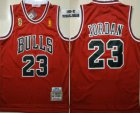 Cheap Men's Chicago Bulls #23 Michael Jordan 1996-97 Red With Champions Patch Hardwood Classics Soul Swingman Throwback Jersey