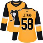 Cheap Adidas Penguins #58 Kris Letang Gold Alternate Authentic Women's Stitched NHL Jersey