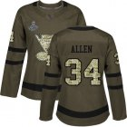 Cheap Adidas Blues #34 Jake Allen Green Salute to Service Stanley Cup Champions Women's Stitched NHL Jersey