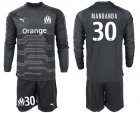 Cheap Marseille #30 Mandanda Black Goalkeeper Long Sleeves Soccer Club Jersey