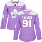 Cheap Adidas Maple Leafs #91 John Tavares Purple Authentic Fights Cancer Women's Stitched NHL Jersey