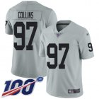 Cheap Nike Raiders #97 Maliek Collins Silver Youth Stitched NFL Limited Inverted Legend 100th Season Jersey