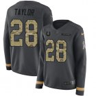 Cheap Nike Colts #28 Jonathan Taylor Anthracite Salute to Service Women's Stitched NFL Limited Therma Long Sleeve Jersey