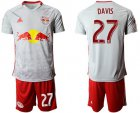 Cheap Red Bull #27 Davis White Home Soccer Club Jersey