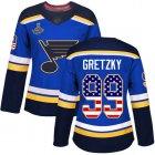 Cheap Adidas Blues #99 Wayne Gretzky Blue Home Authentic USA Flag Stanley Cup Champions Women's Stitched NHL Jersey