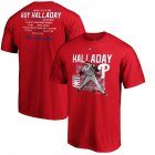 Cheap Philadelphia Phillies #34 Roy Halladay 2019 Hall of Fame Stats T-Shirt Red