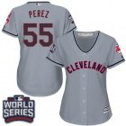 Cheap Indians #55 Roberto Perez Grey 2016 World Series Bound Women's Road Stitched MLB Jersey