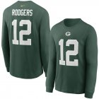 Cheap Green Bay Packers #12 Aaron Rodgers Nike Player Name & Number Long Sleeve T-Shirt Green