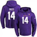Cheap Nike Vikings #14 Stefon Diggs Purple Name & Number Pullover NFL Hoodie