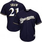 Cheap Brewers #21 Travis Shaw Navy blue Cool Base Stitched Youth MLB Jersey