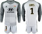 Cheap Lyon #1 Lopes Grey Goalkeeper Long Sleeves Soccer Club Jersey