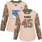 Cheap Adidas Rangers #45 Kappo Kakko Camo Authentic 2017 Veterans Day Women's Stitched NHL Jersey