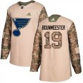 Cheap Adidas Blues #19 Jay Bouwmeester Camo Authentic 2017 Veterans Day Stitched NHL Jersey