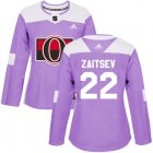 Cheap Adidas Senators #22 Nikita Zaitsev Purple Authentic Fights Cancer Women's Stitched NHL Jersey