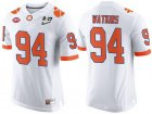 Cheap Men's Clemson Tigers #94 Carlos Watkins White 2017 Championship Game Patch Stitched CFP Nike Limited Jersey