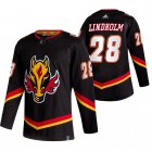 Cheap Calgary Flames #28 Elias Lindholm Black Men's Adidas 2020-21 Reverse Retro Alternate NHL Jersey