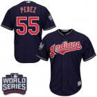 Cheap Indians #55 Roberto Perez Navy Blue Alternate 2016 World Series Bound Stitched Youth MLB Jersey