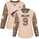 Cheap Adidas Coyotes #9 Clayton Keller Camo Authentic 2017 Veterans Day Women's Stitched NHL Jersey