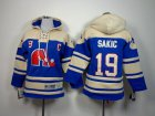 Cheap Nordiques #19 Joe Sakic Blue Sawyer Hooded Sweatshirt Stitched Youth NHL Jersey
