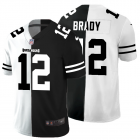 Cheap Tampa Bay Buccaneers #12 Tom Brady Men's Black V White Peace Split Nike Vapor Untouchable Limited NFL Jersey