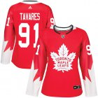 Cheap Adidas Maple Leafs #91 John Tavares Red Team Canada Authentic Women's Stitched NHL Jersey