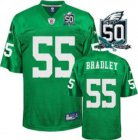 Cheap Eagles #55 Stewart Bradley Light Green With Team 50TH Patch Stitched NFL Jersey