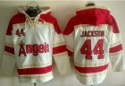 Cheap Angels of Anaheim #44 Reggie Jackson White Sawyer Hooded Sweatshirt MLB Hoodie