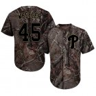 Cheap Phillies #45 Zack Wheeler Camo Realtree Collection Cool Base Stitched MLB Jersey